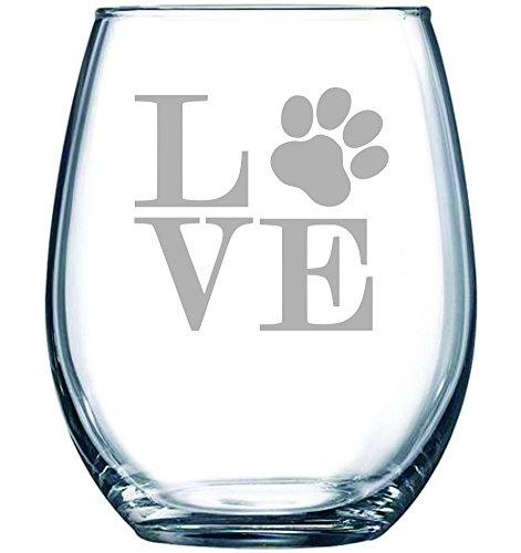 Paw print LOVE 15 oz. stemless wine glass