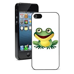 "Apple iPhone 6 (4.7"") Hard Back Case Cover Cute Happy Green Frog (Black) by icecream design"