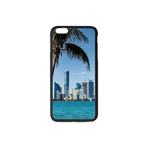 Coastal Decor Rubber Phone Case,Miami Downtown with Biscayne Bay Buildings and Palm Tree Panoramic Compatible with iPhone 6 / 6sPlus