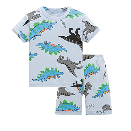 AmberEft Boys Pajamas 4T Kids Cotton Shorts Dinosaur PJs Summer Clothes Toddler -