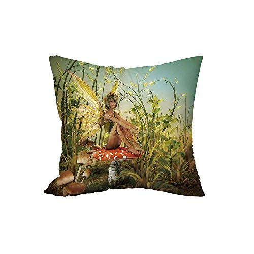 Polyester Throw Pillow Cushion,Kids Decor,Little Fairy Elf with Wings Flying and Mushroom in The Enchanted Forest Birds Party Art Print,15.7x15.7Inches,for Sofa Bedroom Car Decorate -