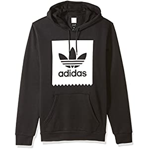 adidas Originals Men's Skateboarding Solid Blackbird Hoodie, Black/White, 2XL