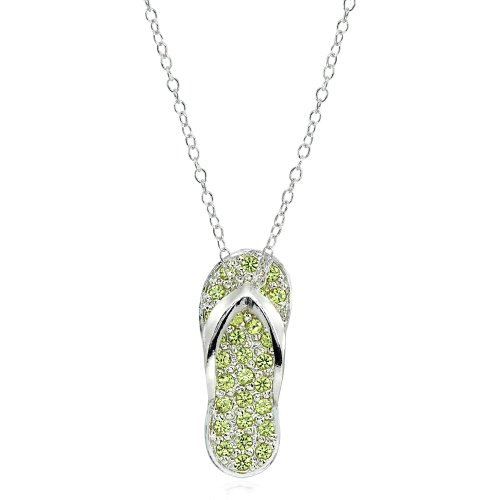 - Sterling Silver Simulated Peridot Flip-Flop Beach Sandal Necklace