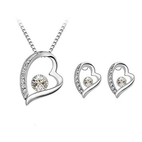 Womens Jewelry Sets Crystal Diamond Heart Pendant Necklace Stud Earrings Silver Plated Color White