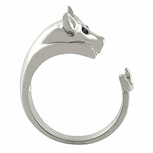 Ellenviva Enhanced Pig Animal Wrap Ring White Gold-plated Shiny Silver Tone- Size 6 ()