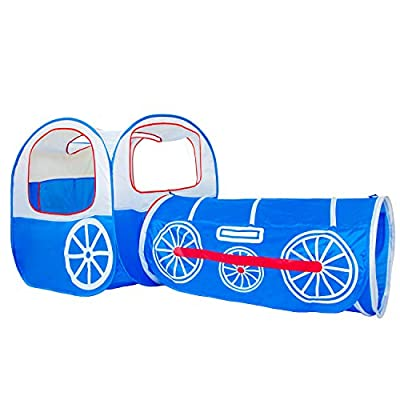 ALPIKA Train Kids Pop Up Play Tent, Tunnel and Ball Pit with Storage Bag Children Play Tunnel (Blue): Toys & Games