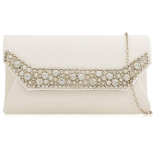 detachable long Evening Bag with Wedding Prom Baguette Xardi Girl Bridal chain strap Clutch Diamante Ladies Women Ivory Satin London 7Xq6gZ