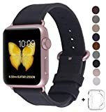 JSGJMY Compatible Iwatch Band 38mm Women Genuine Leather Replacement Strap with Rose Gold Metal Clasp Compatible Iwatch Series 3 2 1 Sport Edition (Black)