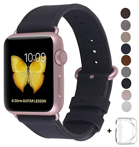 JSGJMY Compatible Iwatch Band 38mm Women Genuine Leather Replacement Strap with Rose Gold Metal Clasp Compatible Iwatch Series 3 2 1 Sport Edition (Black) by JSGJMY