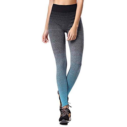 June Julien Women Pantyhose Running Workout Yuga Legging Pants Blue-L