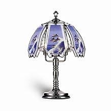 ORE International K306 Glass Dolphin Scene Touch Lamp, Black Chrome