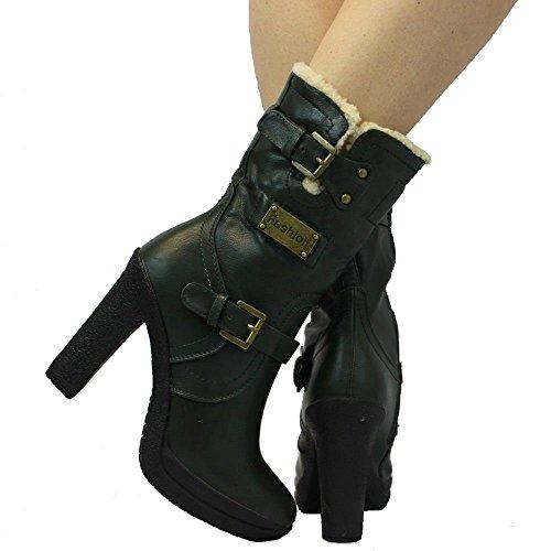 945 Warm Comfort Ankle Full Faux Fur Zip Block Heel Buckle Platform Boots 3 - 8 (Green) bTH4K2IA