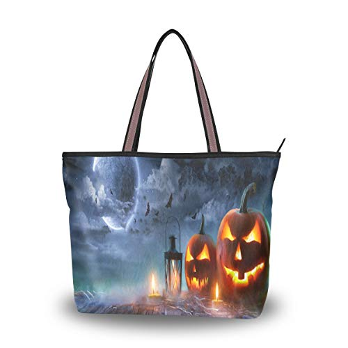 Large Tote Bags Jack O Lantern Glowing Halloween Scene Waterproof Portable Organizer Storage Shoulder Bag for Women L