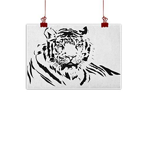 (Wall Art Print Home Decor Tiger,Black Stripes of a Large Hunter Cat Nature Scenes Beautiful Sublime Beast Digital Artwork, Black 20