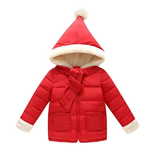 Baqijian Girl Cotton Jacket Thick Winter Warm Casual Hooded Jacket Red - Cat Kim K