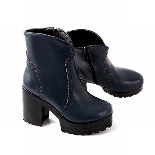 Mee Shoes Damen chunky heels Plateau Reißverschluss Stiefel Blau