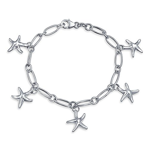 Nautical Sea Life Tropical Beach Multi Charm Dangle Five Starfish Bracelet For Women For Teen 925 Sterling -