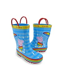 Peppa Pig Girl Toddler Rubber Rain Boots with Handles Blue