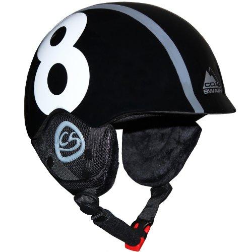 Cox Swain Kinder Ski-/Snowboard Helm TUKINO - Größenverstellbar mit Trackrad, Farbe: Black, Größe: XS
