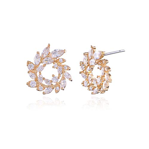 Women's Cubic Zirconia Cluster Earrings - 18k Gold Plated Sterling Silver Marquis-Cut Crystal CZ Rhinestone Graceful Curved Floral Leaf Bridal Wedding Earrings for Bride Bridesmaids