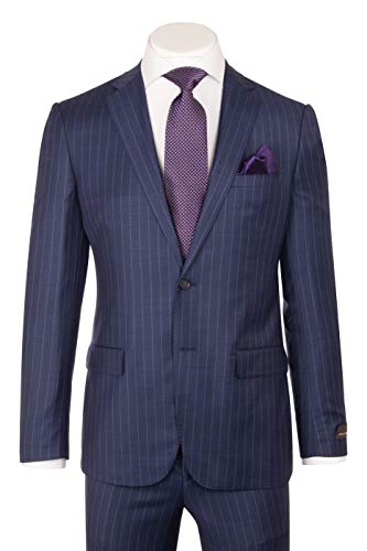 DOLCETTO Modern Fit, Blue with F.Blue Pinstripe, Pure Wool Suit by Vitale Barbers CANONICO Cloth by Canaletto Menswear CV9210