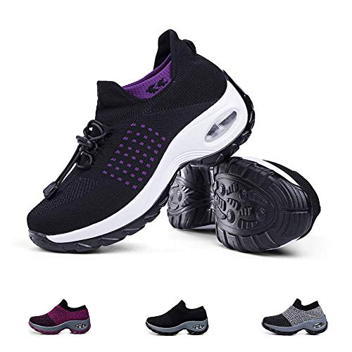 Women's Walking Shoes Sock Sneakers - Mesh Slip On Air Cushion Lady Girls Modern Jazz Dance Easy Shoes Platform Loafers Purple&Black,7 (Best Shoes For Walking And Standing All Day)