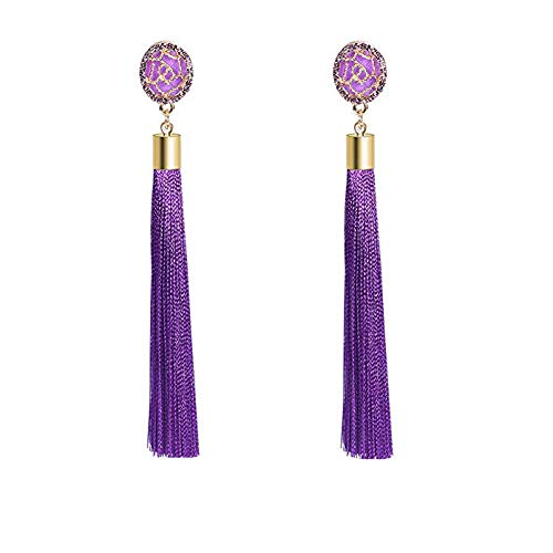 Tassel Earrings, 1-4 Pairs, Bohemian Statement Thread Tassel Drop Dangle Earrings with Cassandra Button Stud ()