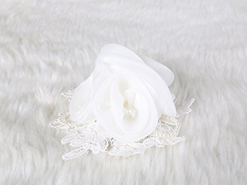 Luxurious Chiffon Rose Hair Clip and Brooch pin crystal and lace pearl (White) (Pebbles Halloween Hair)