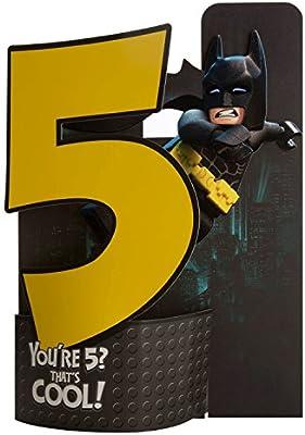 Hallmark – Tarjeta de Lego Batman Pop Up 5th cumpleaños tarjeta que Cool – Medium