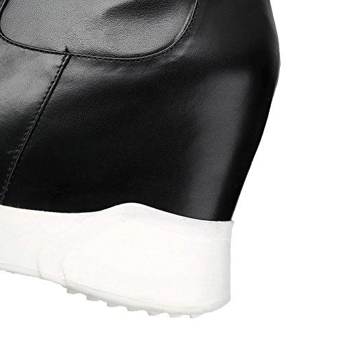 Balamasa Mujeres Assorted Color Pull-on Round-toe Botas De Microfibra Negro
