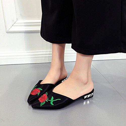 Noir Été Enfiler Western Large Flats Automne en on Loafers Plates Overdose Satin Chaussures Slip Comfort Mules Casual à Femme Pointure w1ngHqxAB