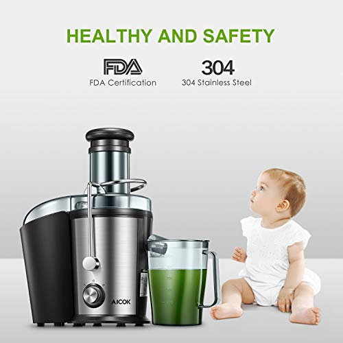 Juicer Machine, Aicok Easy Clean Juice Extractor, 800W Centrifugal Juicer with 3'' Wide Mouth, Dual Speed Stainless Steel Juicer with Anti-drip Mouth, Non-slip feet, BPA Free by AICOK (Image #5)