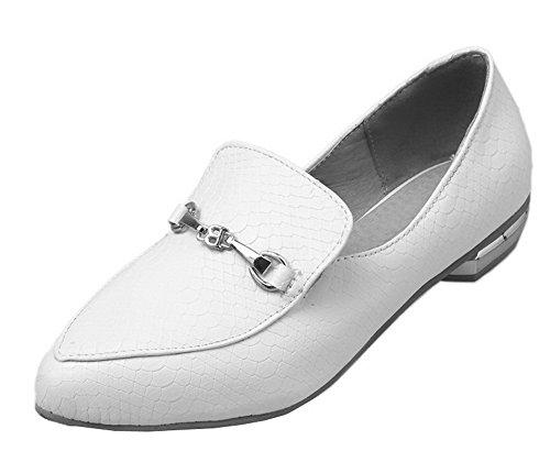 AalarDom Femme à Talon Bas PU Cuir Tire Fermeture d'orteil Chaussures Légeres Blanc DTuCI