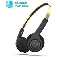 JLab Audio Rewind ICON Wireless Retro Headphones | Bluetooth 4.2 | 12 Hours Playtime | Custom EQ3 Sound | Music Controls | Noise Isolation | with Microphone | Throwback 80s 90s Design | Black/Gold