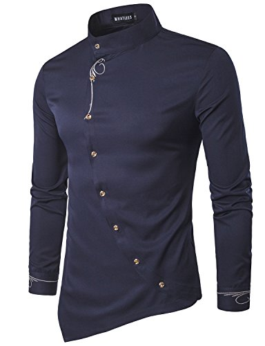 WHATLEES Mens Hipster Irregular Hem Slim Fit Long Sleeve Banded Collar Dress Shirts with Embroidery T21 Navy Blue X Large