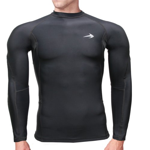 Compression Shirt Long Sleeve (Black - M) Men's Cold Top, Best for Gym Running, Basketball