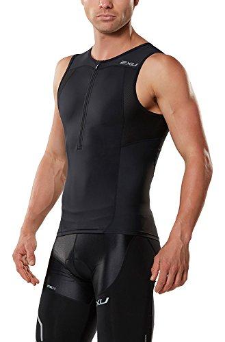 2XU Men's Active Tri Singlet, Black/Black, Small