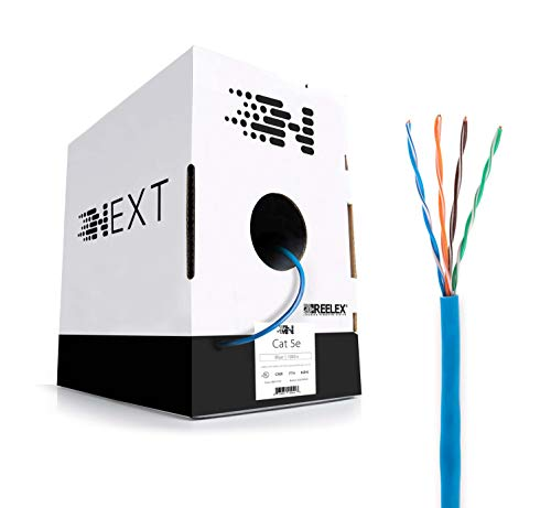 Next Cat 5e Ethernet Cable – In Wall (CMR) Rated – No CCA (Solid/Full Copper) – 1000ft Bulk Wire Pull Box – ()