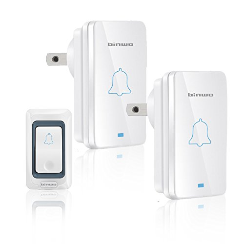 Wireless Door Bell Kit, Binwo Outdoor Doorbell with 2 Plug-In Receivers & 1 Transmitter Operating within a Range of 1000 Feet, Door Chime with 28 CD-Quality Ring Tones, 4 Volume Levels and LED Flash