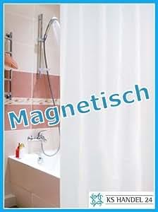 Cortina de ducha de tela (contrapeso magnético, 240x200 cm, incluye anillas), color blanco