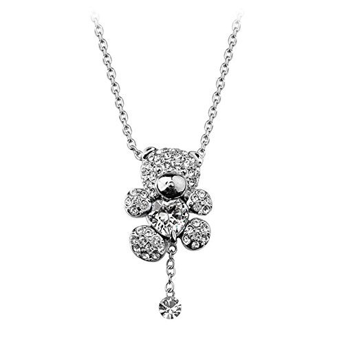 Diamond Bear Cut Teddy - White Gold Plated Animal Cute Teddy Bear Pendant Necklace with Clear Heart Shaped Swarovski Elements Crystal Fashion Jewelry