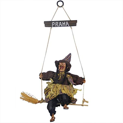 Party DIY Decorations - 1 Piece Terrible Glow Hanging Ghosts Haunted House Props Halloween Party Decorations Horror Hanging Ghosts Voice Control Toys (Brown)]()