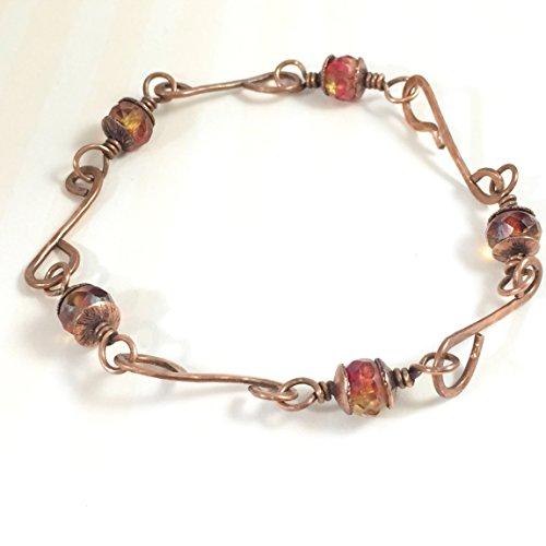 Hand Forged Chain Link Copper with Red Yellow Beaded (Patina Hand Forged)