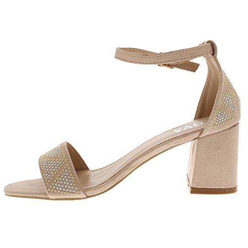 Heels Tallone Sandalo Diamante Donna Cinturino Ritagliare Blocco Alla Nude Punta Aperta Quasi Lì Caviglia Viva di tUOqwnFF