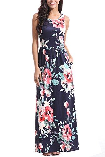 Zattcas Maxi Dresses for Women,Womens Crew Neck Sleeveless Summer Floral Maxi Dress with Pockets (XX-Large, Mutil (Crew Neck Sleeveless Women Dress)