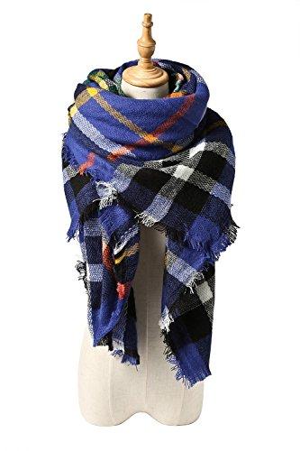 Yanekop Womens Big Blanket Scarf Soft Warm Tartan Plaid Scarf Shawl Fashion Wrap(Blue)