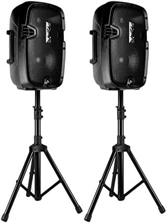 Pyle Dual 8-Inch 2-Way Powered Active Speaker PA system, Bluetooth 4.0, Wireless DJ Speaker System 700 Watt | Includes Speaker Stands, Wired Microphone, and remote control with Cables. (PPHP849KT)