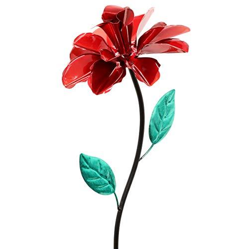 Metal Yard Flowers (Exhart Rose Wind Spinner Garden Stake - Single Rose Flower Spinner Hand Painted in Metallic Red & Green Colors - Fade-Resistant Metal Rose Pinwheel - Best as Kinetic Art Flower)