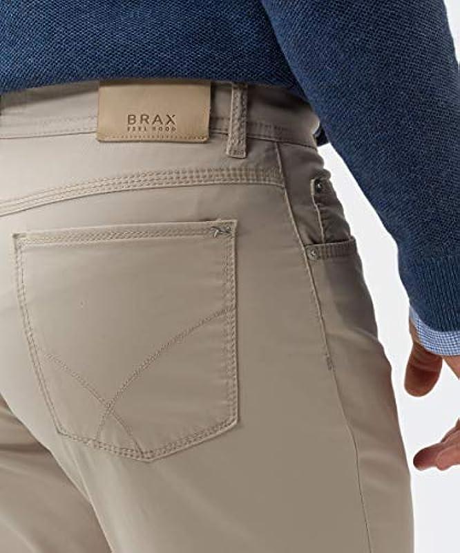 BRAX męskie spodnie Cooper Fancy Marathon płaska tkanina, beżowe (wiosna 2019), 33W / 34L: Odzież