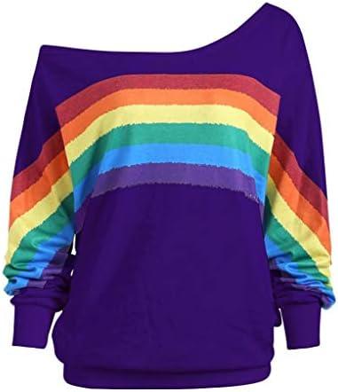 Belasdla Mujer Elegante Manga Larga Moda Suelto Raya Cuello Redondo Rainbow Imprimir Flor Sección Delgada Suéter Camiseta Pulóver Camisa